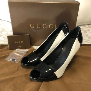 Gucci white and black heels